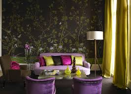 style living room floral wallpaper