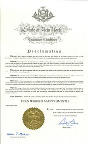 governor cuomo proclaims teen worker safety month nycosh many teens will be employed in summer jobs and not be aware of the need for work permits or potential hazards on their jobs or the laws designed
