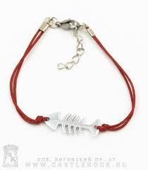 Браслет на <b>шнурке</b> Скелет Рыбы (<b>красный</b>) — Браслеты — Рок ...
