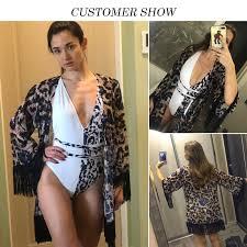 <b>Tassel</b> Leopard chiffon <b>beach cover ups Tunics</b> for <b>beach kaftan</b> ...