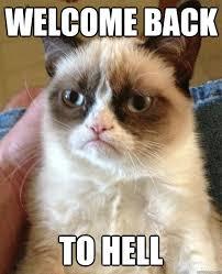 WELCOME BACK TO HELL - Grumpy Cat - quickmeme via Relatably.com