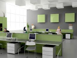 fabulous home office interior design ideas with grey color computer table and green color dividers also captivating design home office desk