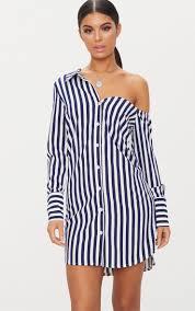 <b>Navy</b> Striped <b>Off the Shoulder</b> Shirt Dress | PrettyLittleThing
