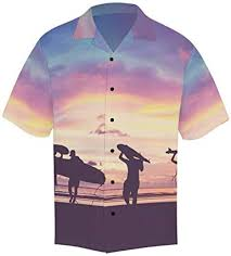 InterestPrint Men Button Up <b>Summer</b> Time Surfing Colorful <b>Short</b> ...