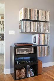 floating vinyl record shelves front shot finished vinyl record