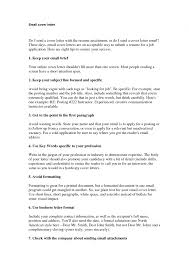 application letter email format of email cover letter