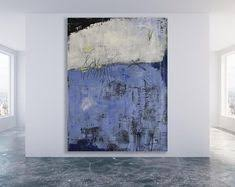 <b>Abstract</b> Painting / Textured Blue, Grey and <b>White Abstract</b> Art ...