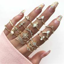 <b>Fashionable gold</b> silver braided ring set <b>Bohemian</b> Style Set Ring ...