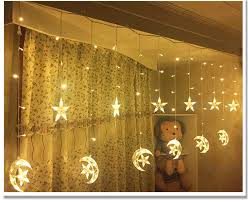 2.5M <b>220V</b> EU Plug Christmas <b>LED Star</b> and <b>Moon</b> Curtains Lights ...