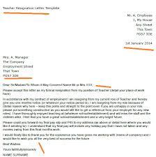 teacher resignation letter example   toresign comteacher resignation letter