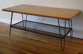 wood table hairpin legs vintage