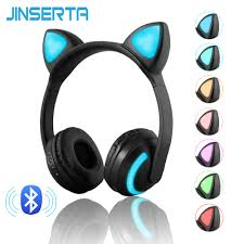 JINSERTA <b>Bluetooth</b> Stereo <b>Cat Ear Headphones Flashing</b> Glowing ...
