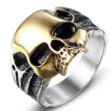 2019 <b>Jingyang</b> New Stainless Steel Skull Gold Rings Simple High ...