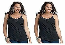 <b>2 PCS Plus</b> Size <b>Women</b> Camisole Black Lace Cotton Tank Top ...