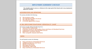 employment agreement checklist