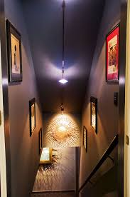 a finished basement basement stairwell lighting