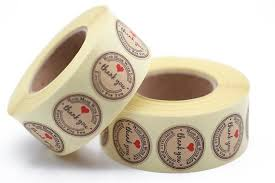 <b>500PCS</b> Handmade Kraft Round <b>Thank</b> You Sticker Paper Stickers ...