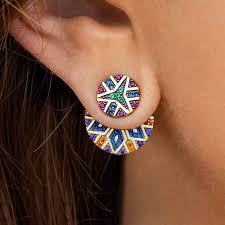 <b>India Tribal Round</b> Earrings Women Asymmetric Gold Yellow Ethnic ...