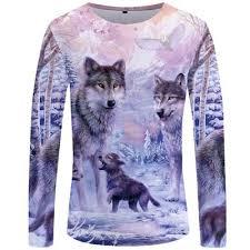 <b>KYKU Wolf T shirt</b> Long sleeve shirt <b>Men</b> Black <b>Tshirt</b> Hip hop 3d <b>t</b> ...