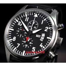 <b>42mm Parnis black dial</b> white mark case Full Chronograph quartz ...
