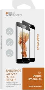 <b>Защитное стекло</b> с рамкой 3D InterStep для iPhone Xs черное (IS ...