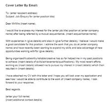Cover Email Example  the email cover letter   the application