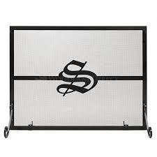 Single Panel <b>Personalized</b> Fireplace Screen- <b>Old English</b> ...