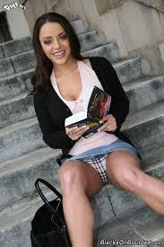 Liza Del Sierra with Tongue Wearing Jean Skirt Enjoying Double.