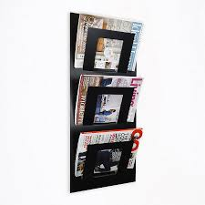 magazine rack wall mount: wall mounted three tier magazine rack