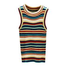 Women Rainbow Contrast <b>Striped</b> Round Neck <b>Summer</b> Tops <b>Sexy</b> ...
