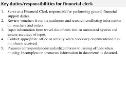 Financial clerk job description