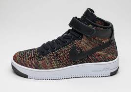 the air force 1 flyknit and the famous multi color motif all combine once again this time its an af1 mid and a black based rainbow colorway air force 1 flyknit