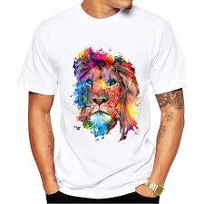 <b>New Summer</b> Fashion Colorful Lion Design T Shirt Men's <b>High</b> ...