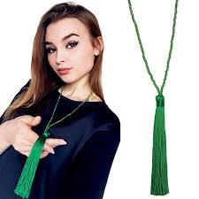 Fashion <b>Long</b> Fringe Silk <b>Tassel Necklace</b> Women Glass Beads ...