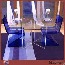 modern transparent acrylic perspex table and blue chairs for restaurant acrylic perspex furniture