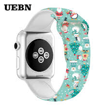 UEBN <b>Christmas Silicone</b> sport <b>band for</b> apple watch 38 42 40 ...