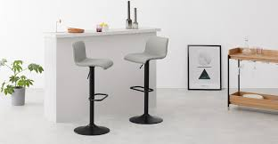 Set of <b>2</b> Sean Adjustable <b>Bar Stools</b>, Grey | MADE.com