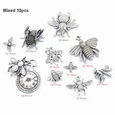 Mixed <b>10pcs</b> Honeybee <b>Bee Insect</b> Beads <b>Charms Pendants</b> for DIY ...