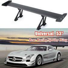 43 110cm adjustable lightweight aluminum universals tuning rear car sedan gt wing racing spoiler black clamp trunk cover