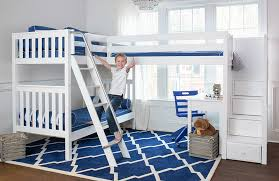 white furniture cool bunk beds: maxtrix corner bunk with desks and blue chair