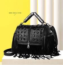 <b>Women Genuine Leather Tassel</b> Handbags Black Rock Rivets ...