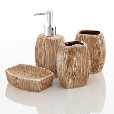 bamboo bathroom accessory set
