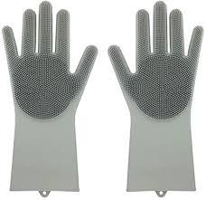 Magic Saksak Reusable <b>Silicone Gloves</b> with Wash Scrubber (13.6 ...
