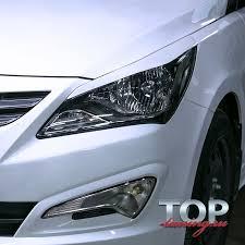 Реснички на <b>передние фары</b> Sport Line на Hyundai Solaris