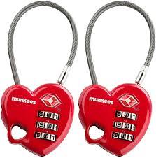 <b>Munkees</b> Heart Shaped <b>Combination Lock</b> Cable Lock TSA ...