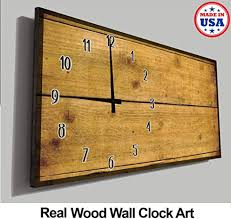 Pike Outdoors <b>Wood Wall Clock</b> Brown Stained <b>Wooden Planks</b> ...