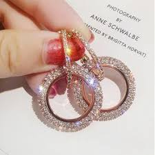 <b>Luxury</b> Fashion <b>S925</b> Silver Full Rhinestone Zircon Glitter <b>Circle</b> ...