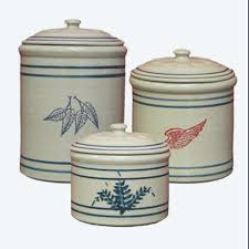 Green Kitchen Canister Set 3 Piece Crock Canister Set Red Wing Stoneware Pottery
