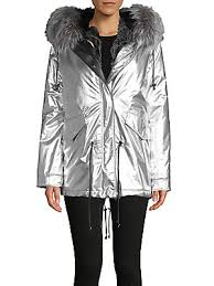 <b>NB</b> Nicole Benisti - Ludlow Rabbit & Fox Fur Metallic <b>Down Parka</b> ...