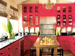 decorative accessories red cabinets yellow